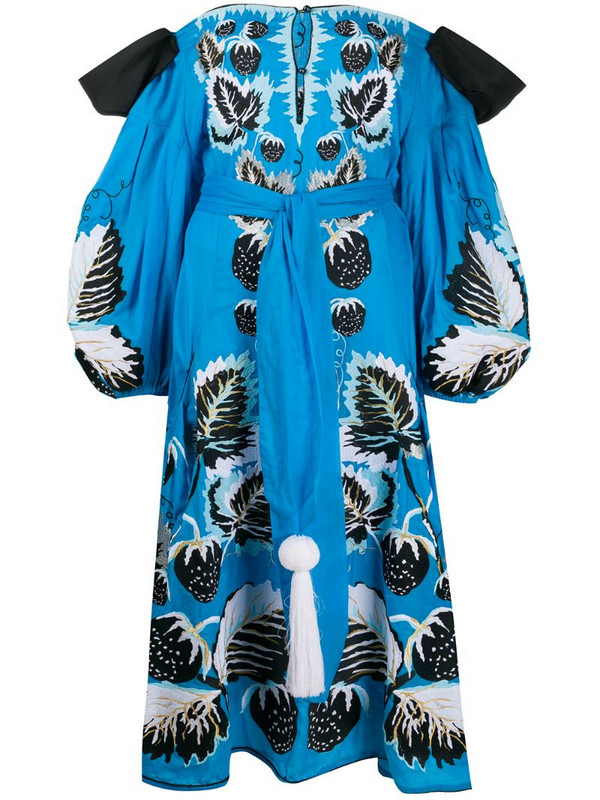 Yuliya Magdych Strawberries off-the-shoulder dress in blue
