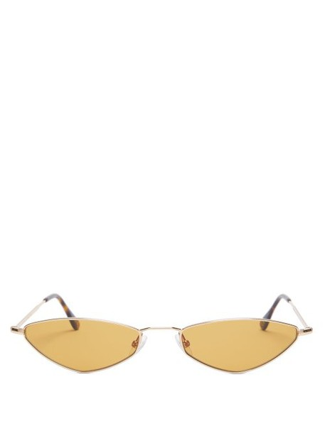 Andy Wolf - Eliza Metal Oval Sunglasses - Womens - Light Brown