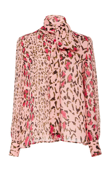 Carolina Herrera Tie-Neck Leopard-Print Silk-Chiffon Blouse in pink