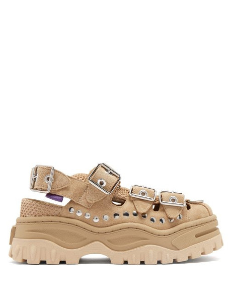 Eytys - Athena Studded Suede Flatform Sandals - Womens - Beige