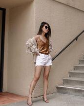 top,tank top,white shorts,denim shorts,cardigan,sandal heels