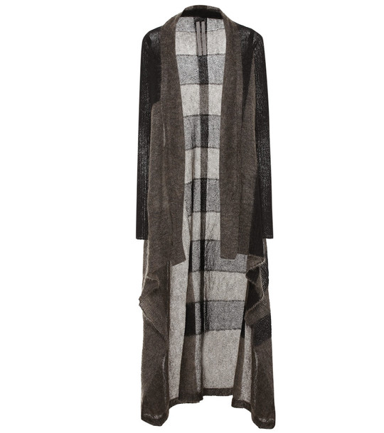 Rick Owens Striped mohair-blend cardigan in grey
