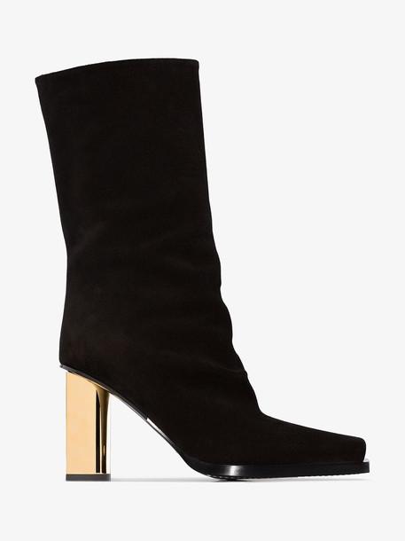 Proenza Schouler Black Suede Metallic Heel Slouch Boots