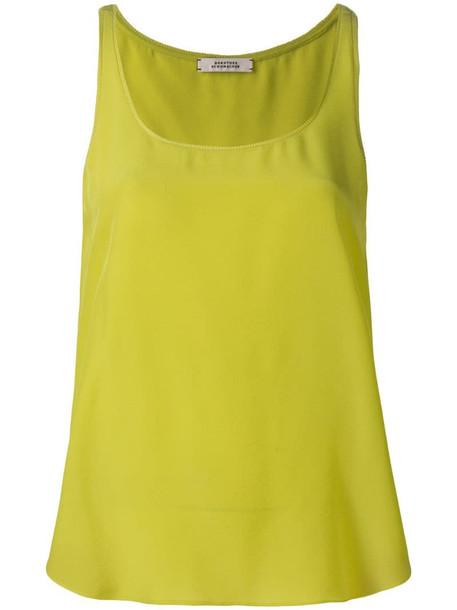 Dorothee Schumacher scoop neck silk vest top in yellow