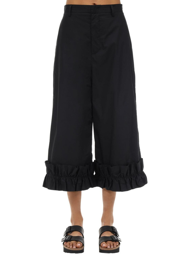 MONCLER GENIUS Noir Cotton Pants W/ Ruffles in black