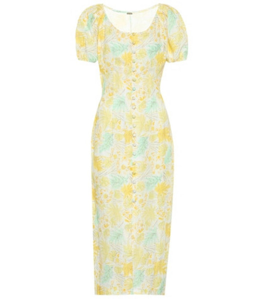Cult Gaia Charlotte floral linen dress in yellow