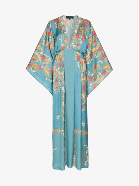 Celia Dragouni deep V-neck floral print dress