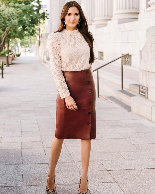 skirt midi skirt leather skirt pumps leopard print lace top