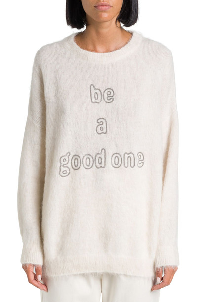 Brunello Cucinelli Sweater With be A Good One Embroidery in bianco
