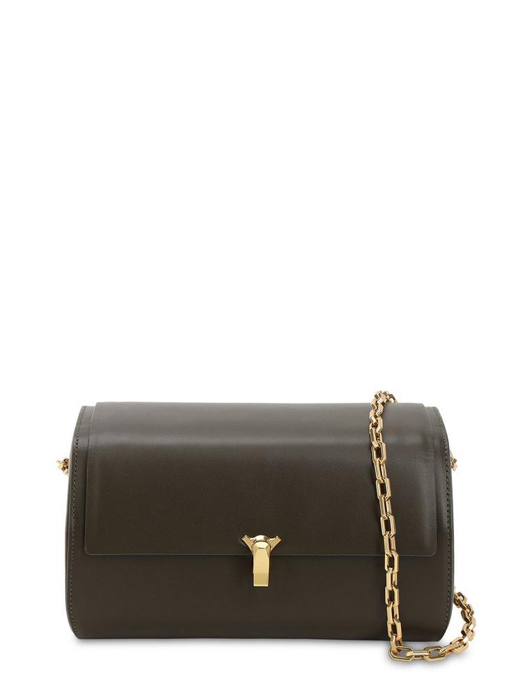 THE VOLON Po B Trunk Leather Shoulder Bag in khaki
