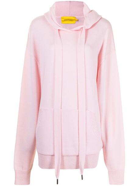 Marques'Almeida knitted drawstring merino hoodie - Pink