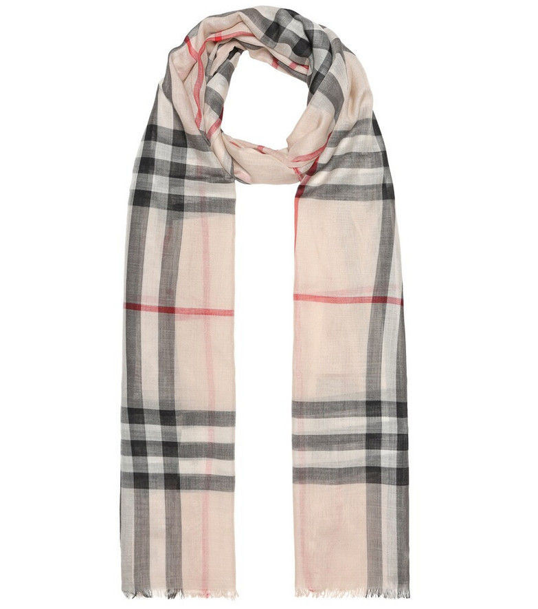 Burberry Check wool and silk gauze scarf in beige
