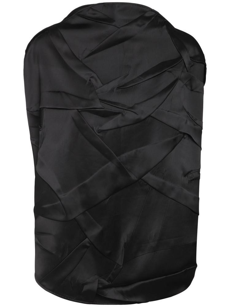 MM6 MAISON MARGIELA Distressed Satin Circle Top in black