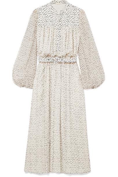 Adam Lippes - Gathered Printed Silk-chiffon Midi Dress - Ivory