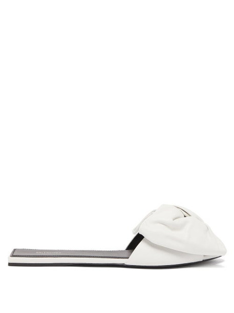 Balenciaga - Bow Embellished Leather Slides - Womens - White