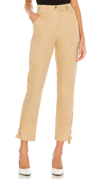The Range Tide Linen Twill Utilitarian Straight Leg Pant in Tan