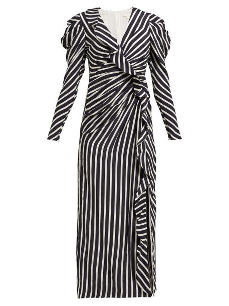 Jonathan Simkhai - Ruffled Striped Sandwashed Crepe Midi Dress - Womens - Navy White