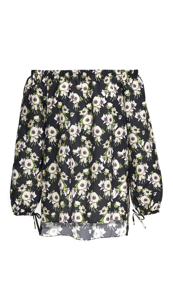 Adam Lippes Long Sleeve Off Shoulder Top In Printed Voile in black