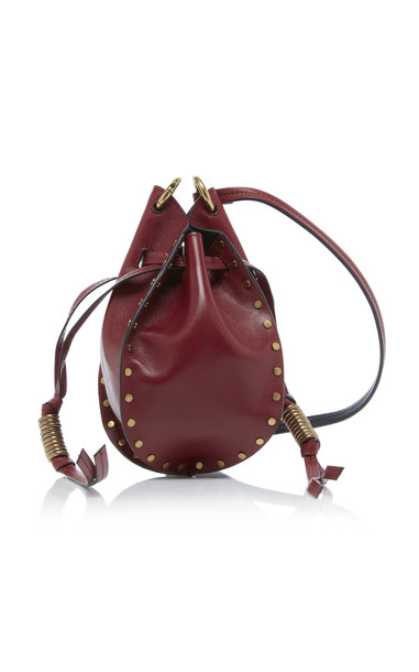 Isabel Marant Radji Studded Leather Bucket Bag in red