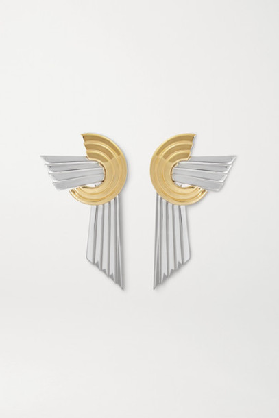 Leda Madera - Meryl Palladium-plated And Gold-plated Clip Earrings - Silver