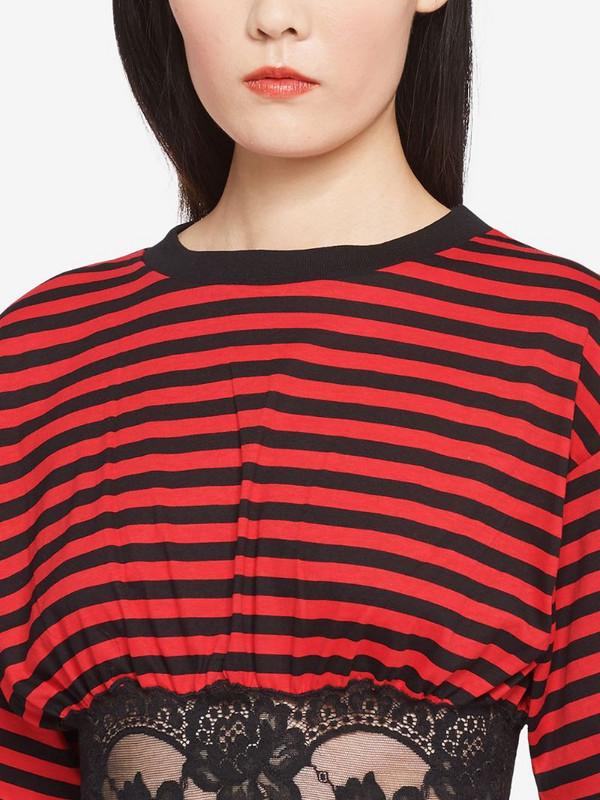 Miu Miu lace-panelled striped T-shirt in black
