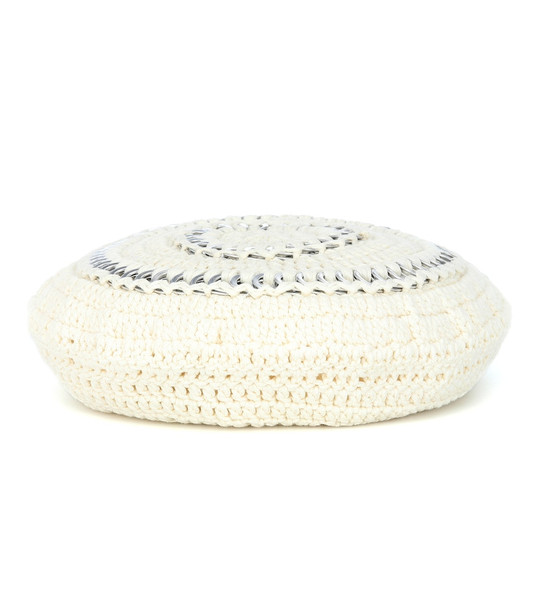 Ganni Crochet cotton beret in white