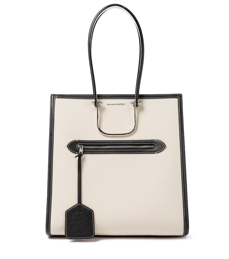 Alexander McQueen The Tall Story canvas tote in beige
