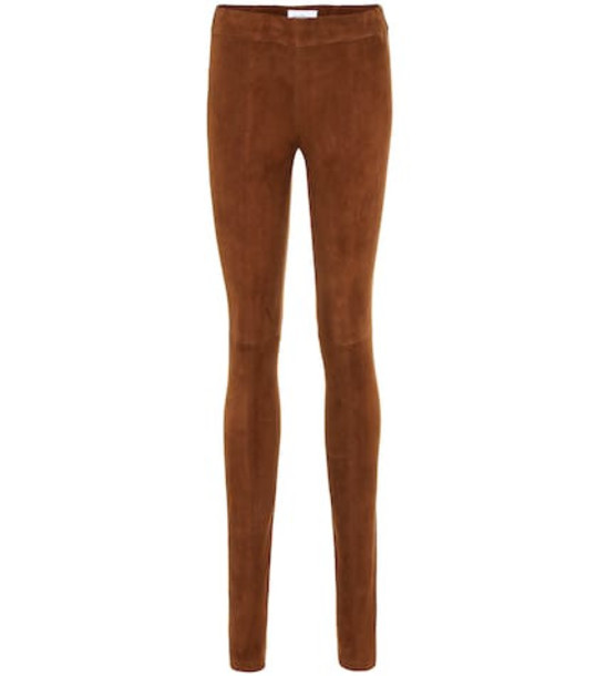 Salvatore Ferragamo Skinny suede pants in brown