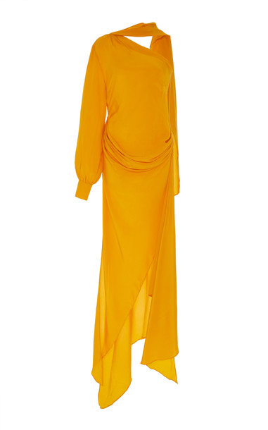 Pyer Moss Curtain-Draped Silk Dress Size: S in yellow
