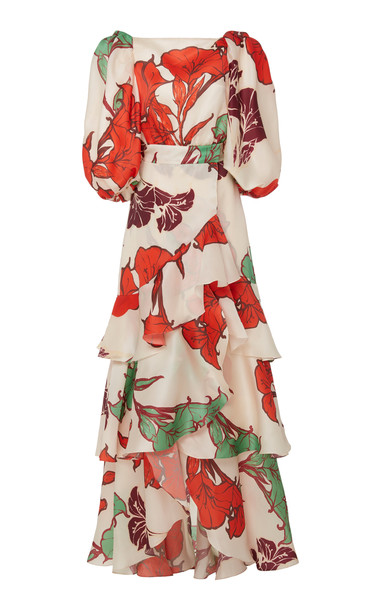 Johanna Ortiz Forbidden Tropics Floral Silk Gown Size: 6