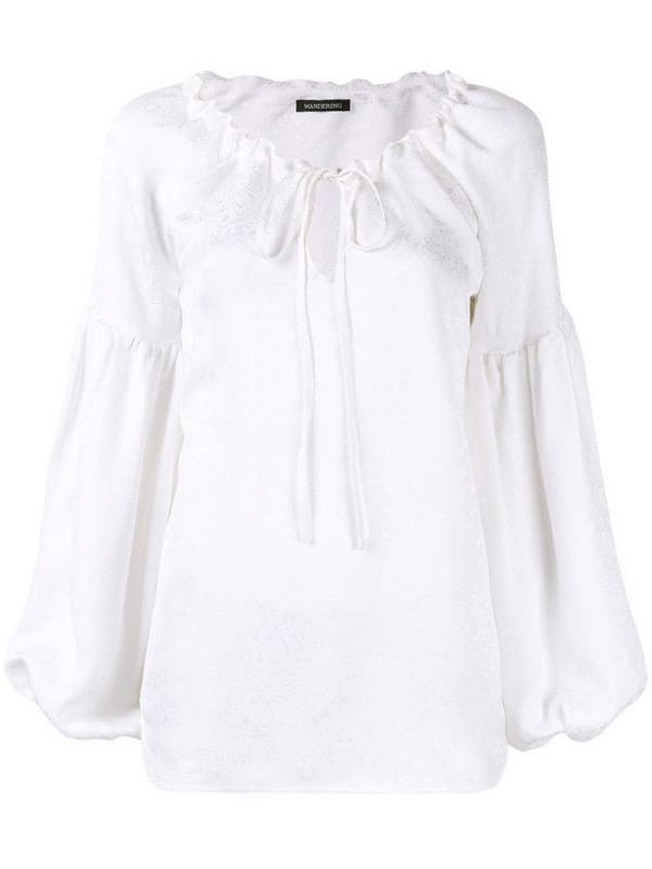 Wandering drawstring long-sleeve blouse in white