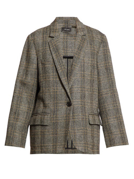 Isabel Marant Étoile - Charly Checked Single Breasted Blazer - Womens - Grey