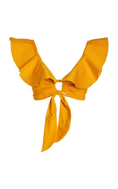 Johanna Ortiz Talisman Ruffled Bikini Top in yellow