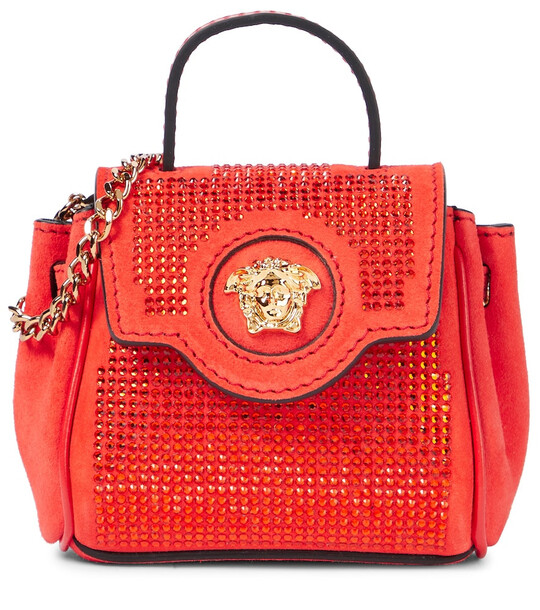Versace Medusa Mini embellished suede tote in red