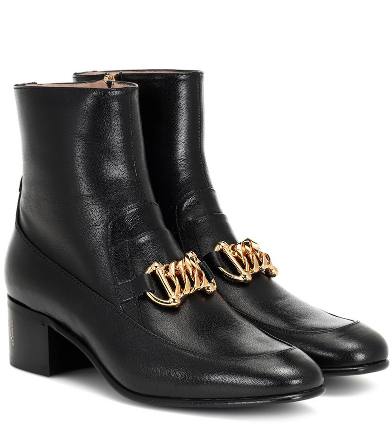 Gucci Horsebit Chain leather ankle boots in black