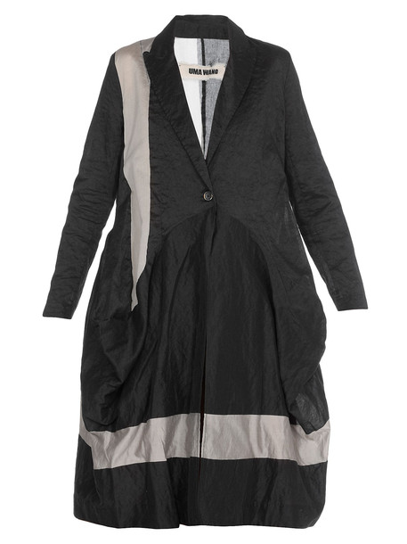 Uma Wang Overcoat Linen in black / grey