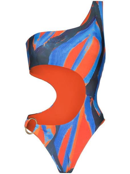 Louisa Ballou Half Moon asymmetric swimsuit - Orange