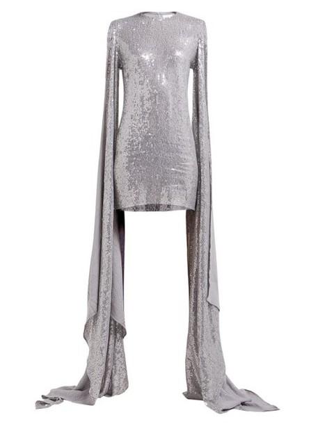 Ashish - Luna Sequinned Drape Sleeve Mini Dress - Womens - Silver