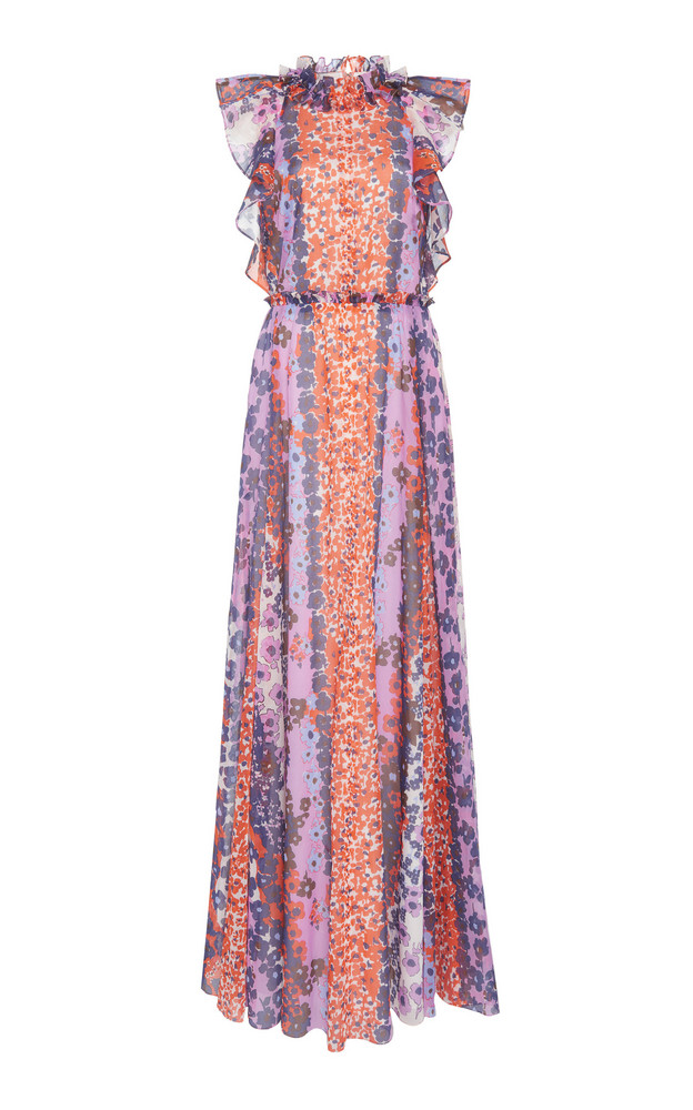 Lela Rose Ruffled Printed Cotton Maxi Dress in multi