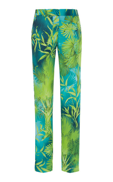 Versace Jungle Print Straight-Leg Crepe Pants Size: 36 in multi