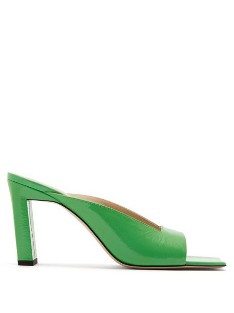 Wandler - Isa Square Toe Leather Mules - Womens - Green