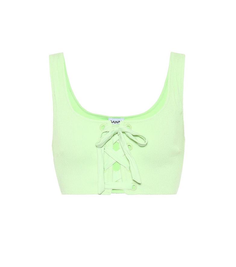 Ganni Lace-up bikini top in green