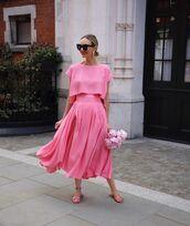 skirt,midi skirt,crop tops,slide shoes,pink top,set