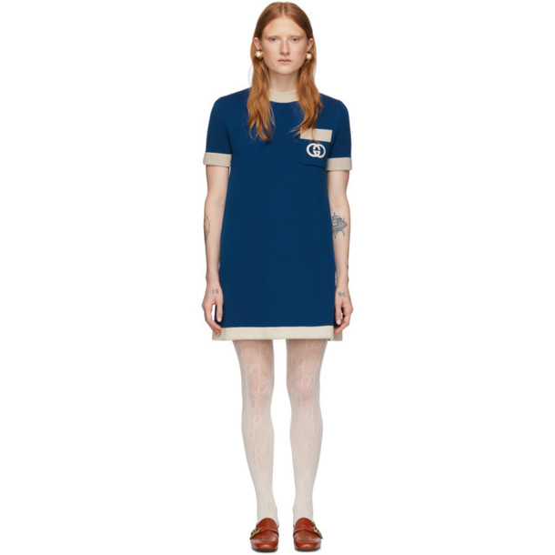 Gucci Blue Wool GG Dress