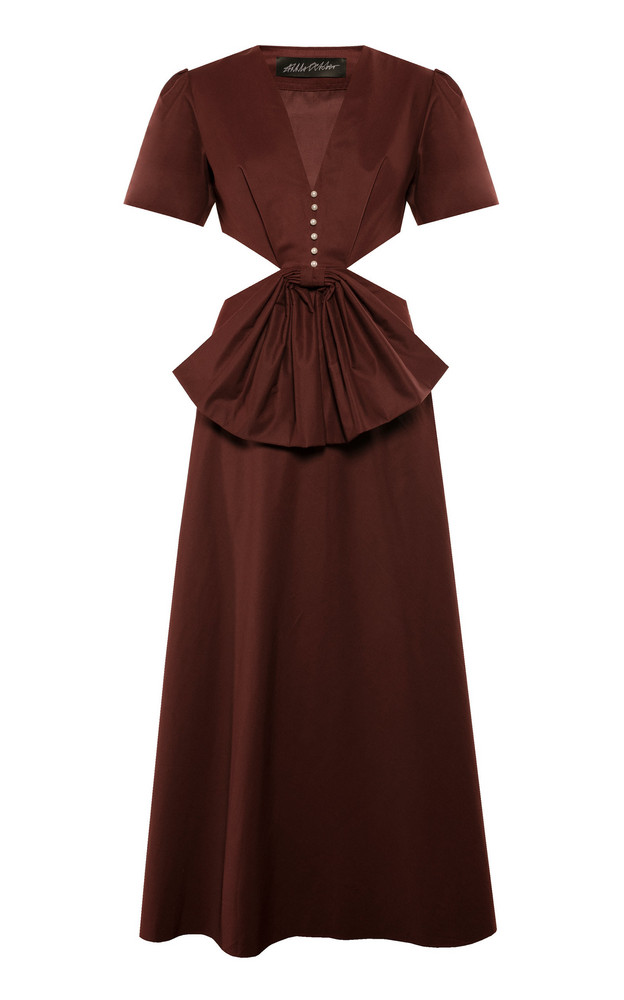 Anna October Lora Loves Red Cotton-Blend Dress Size: XS in burgundy