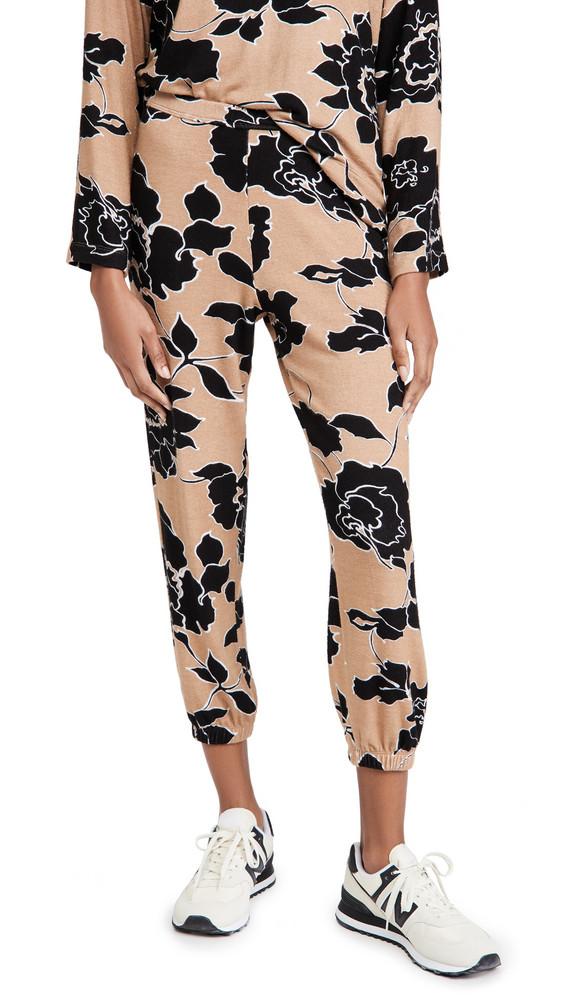 Leset Lori Floral Jogger Pants in black / beige