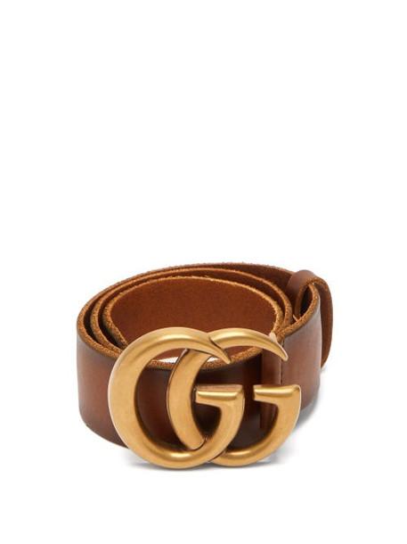 Gucci - Gg Leather Belt - Womens - Tan