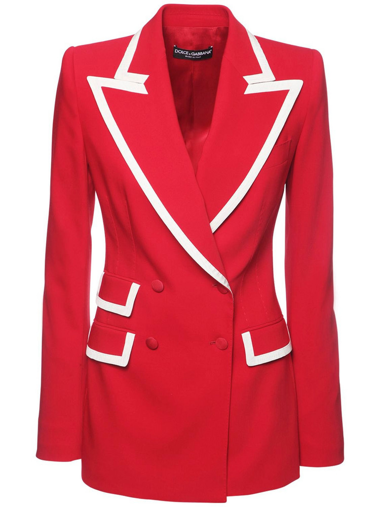 DOLCE & GABBANA Stretch Wool Blend Double Breast Jacket in red / white