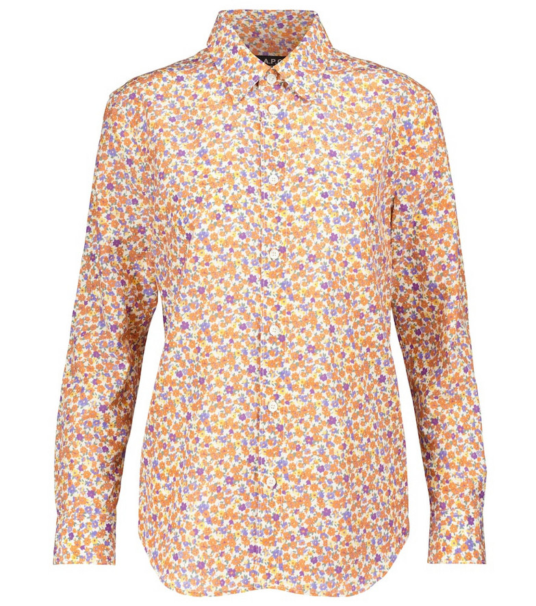 A.P.C. Gina floral silk and cotton shirt in orange