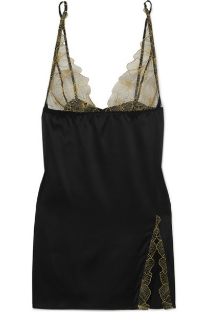 Coco de Mer - Danae Silk-blend Satin And Embroidered Tulle Chemise - Black